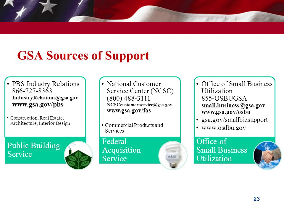 GSA Sources of Support PBS Industry Relations 866-727-8363 IndustryRelations@gsa.gov www.gsa.gov/pbs Construction, Real Estate, Architecture, Interior