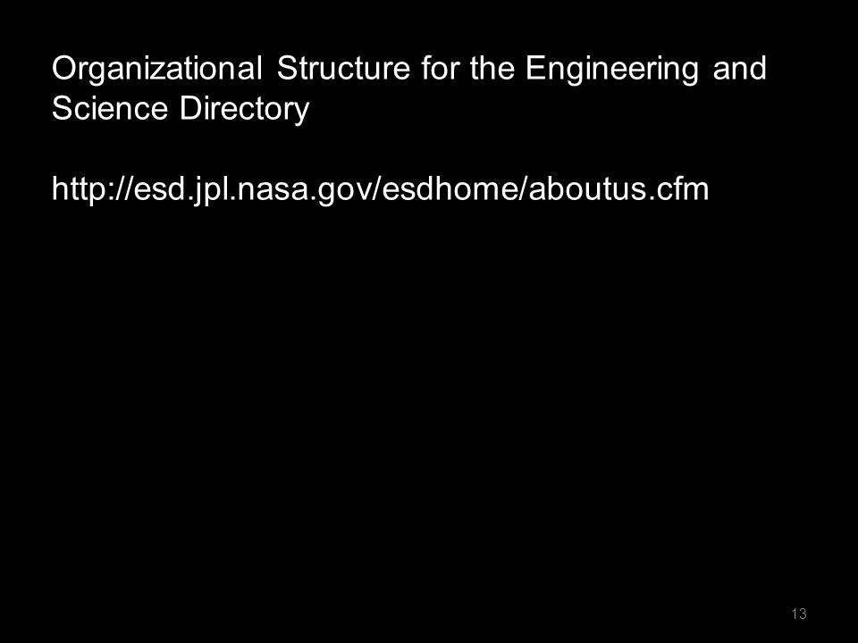 13 Organizational Structure for the Engineering and Science Directory http://esd.jpl.nasa.gov/esdhome/aboutus.cfm