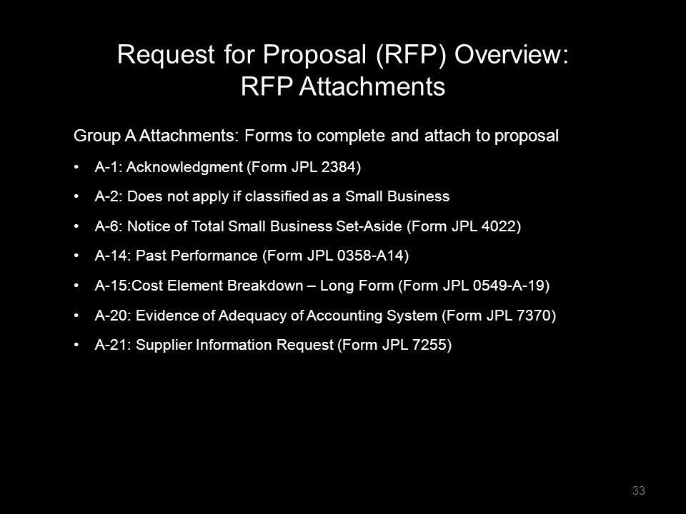 Group A Attachments: Forms to complete and attach to proposal A-1: Acknowledgment (Form JPL 2384) A-2: Does not apply if classified as a Small Busines