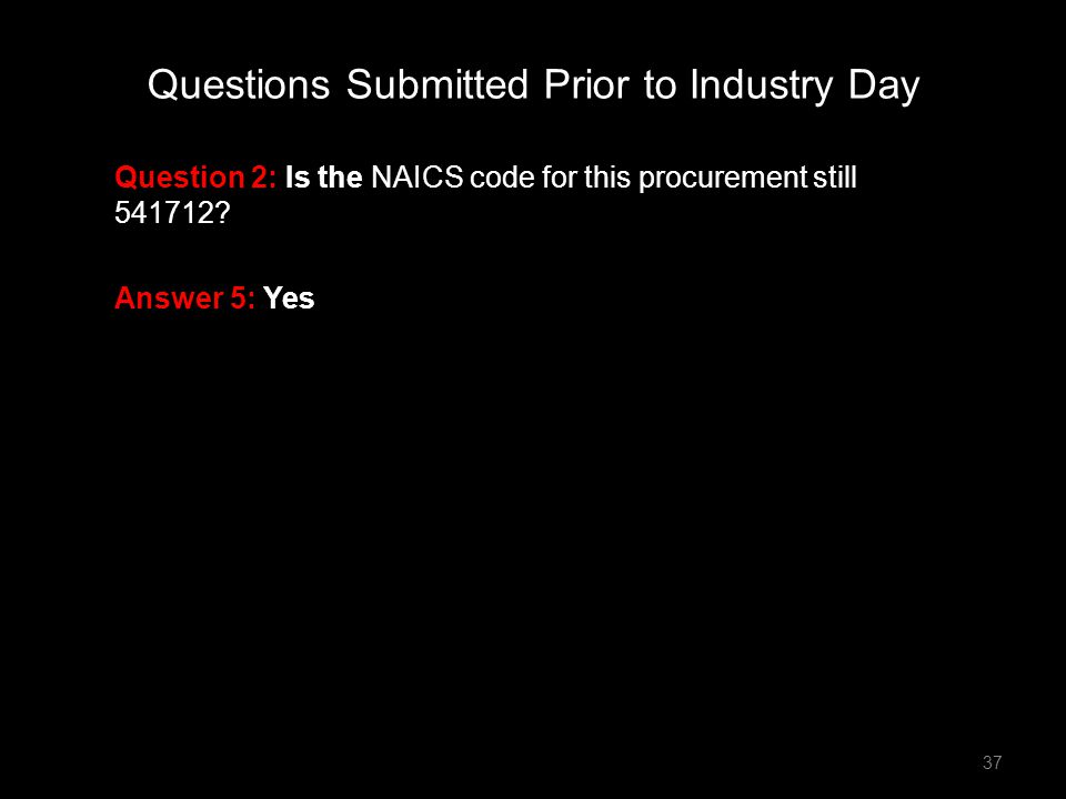 Question 2: Is the NAICS code for this procurement still 541712? Answer 5: Yes Questions Submitted Prior to Industry Day 37