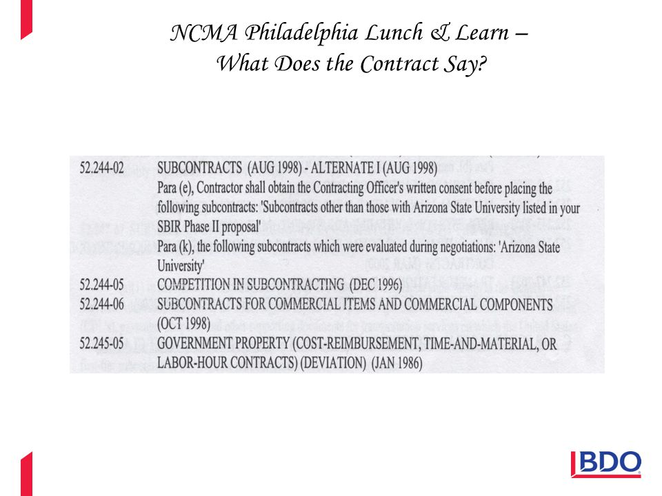 NCMA Philadelphia Lunch & Learn – What Does the Contract Say