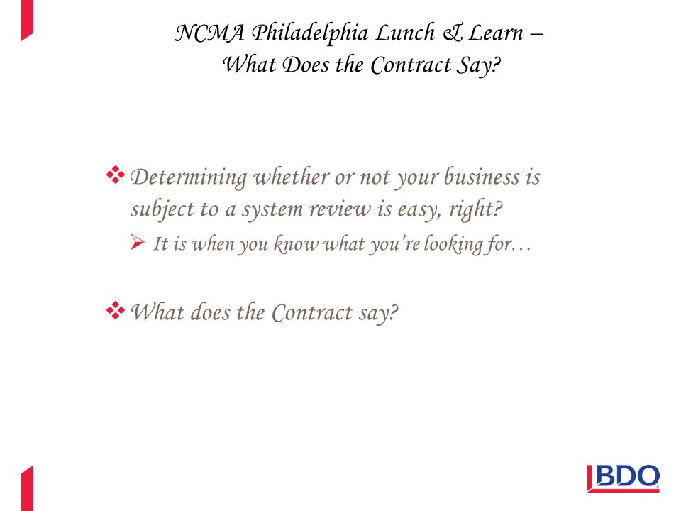 NCMA Philadelphia Lunch & Learn – What Does the Contract Say?