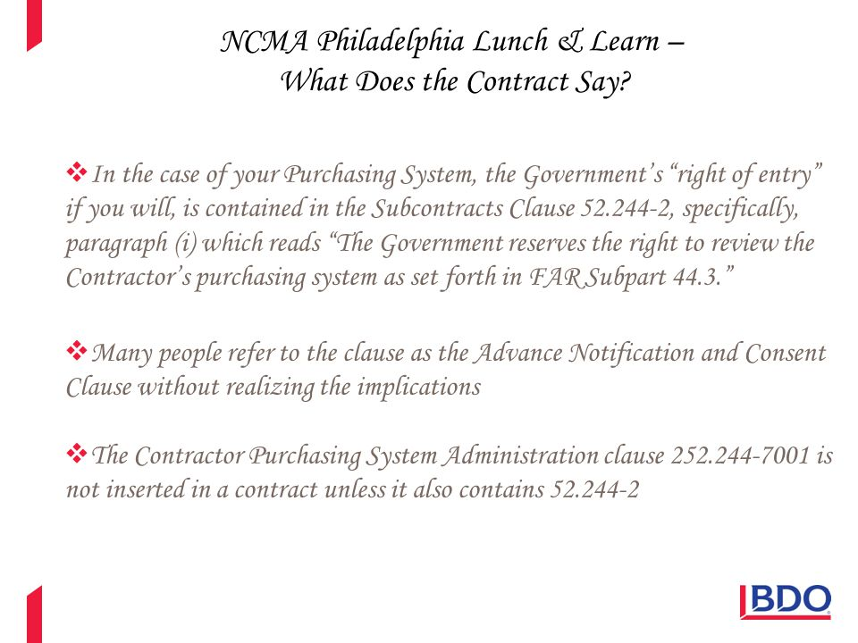 NCMA Philadelphia Lunch & Learn – What Does the Contract Say.