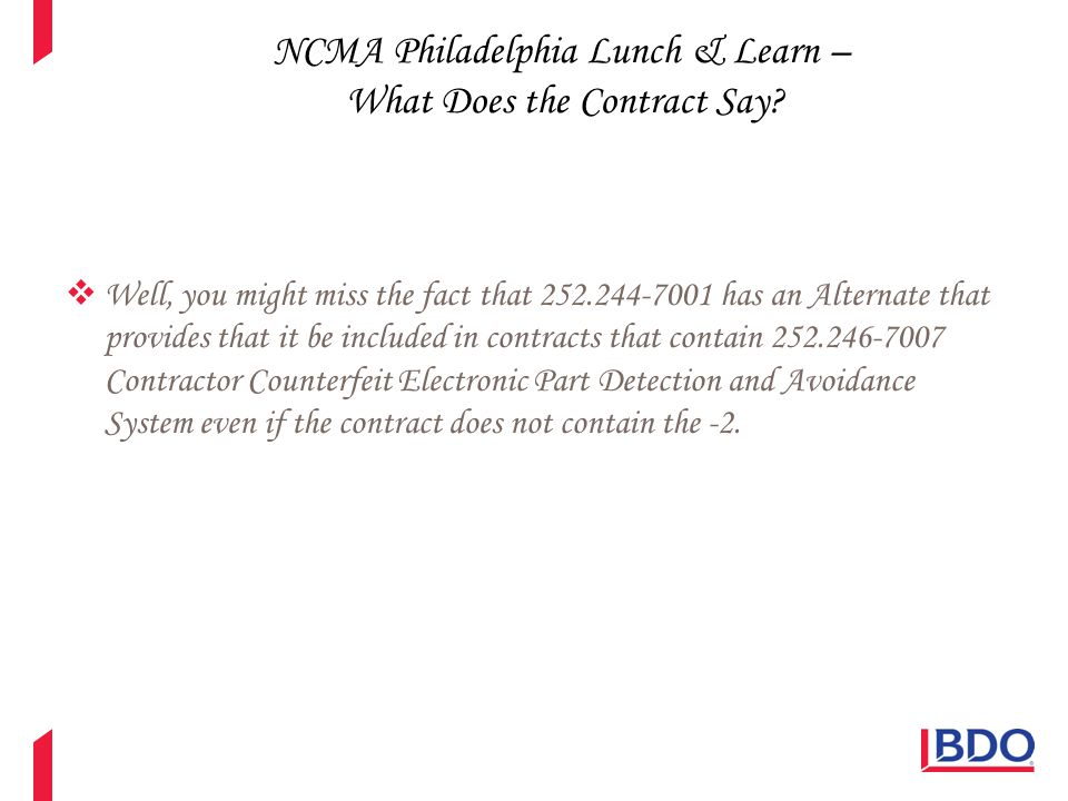 NCMA Philadelphia Lunch & Learn – What Does the Contract Say?  Questions?