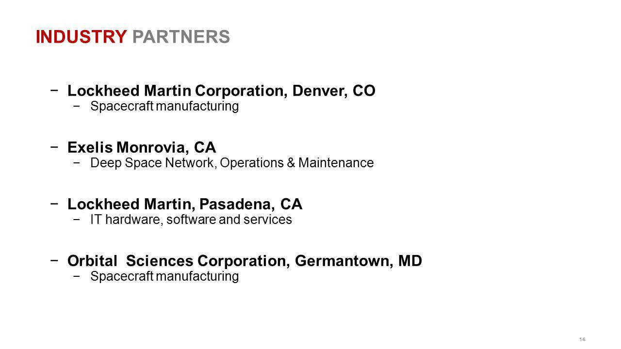 14 INDUSTRY PARTNERS −Lockheed Martin Corporation, Denver, CO −Spacecraft manufacturing −Exelis Monrovia, CA −Deep Space Network, Operations & Mainten