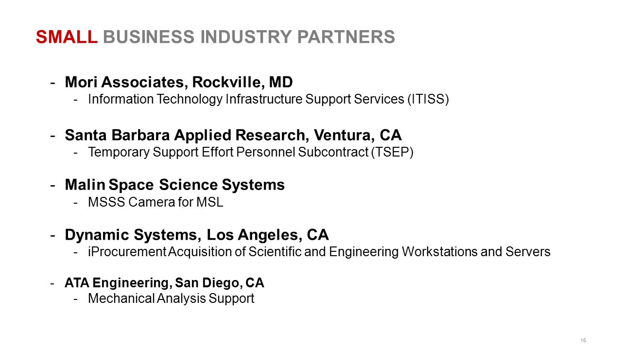 15 SMALL BUSINESS INDUSTRY PARTNERS -Mori Associates, Rockville, MD -Information Technology Infrastructure Support Services (ITISS) -Santa Barbara App