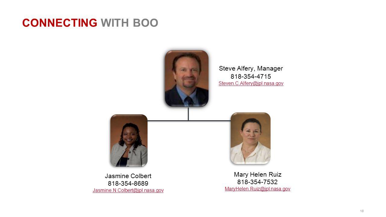 18 CONNECTING WITH BOO Steve Alfery, Manager 818-354-4715 Steven.C.Alfery@jpl.nasa.gov Jasmine Colbert 818-354-8689 Jasmine.N.Colbert@jpl.nasa.gov Mar