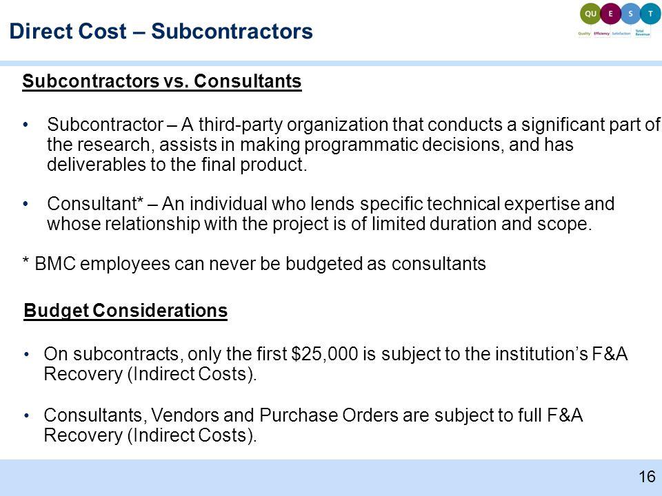 Subcontractors vs.