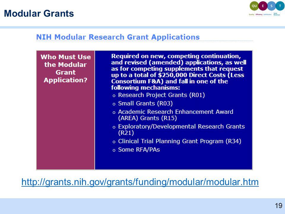 Modular Grants http://grants.nih.gov/grants/funding/modular/modular.htm 19