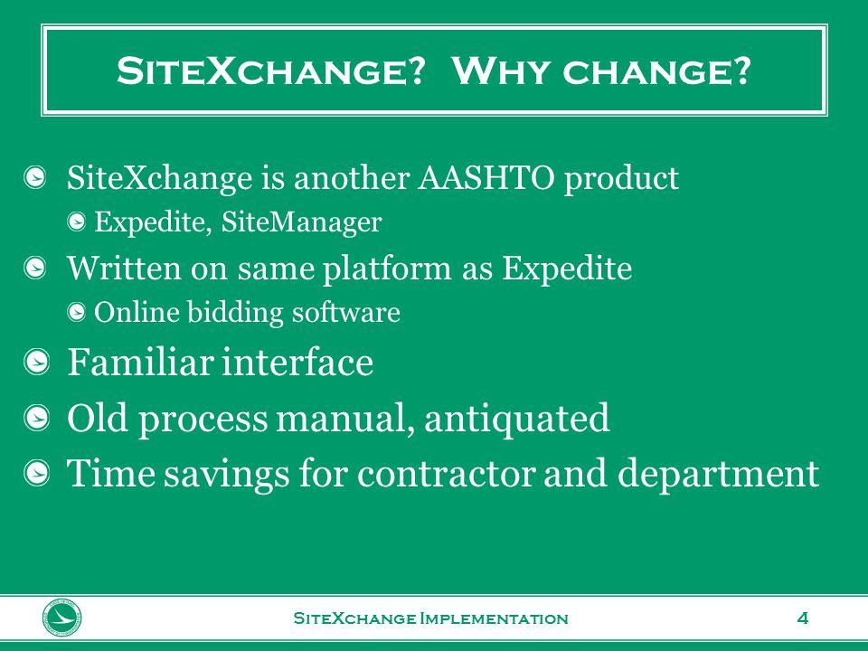 www.transportation.ohio.gov 4 SiteXchange. Why change.