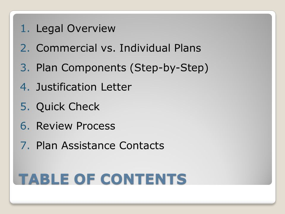 TABLE OF CONTENTS 1.Legal Overview 2.Commercial vs.