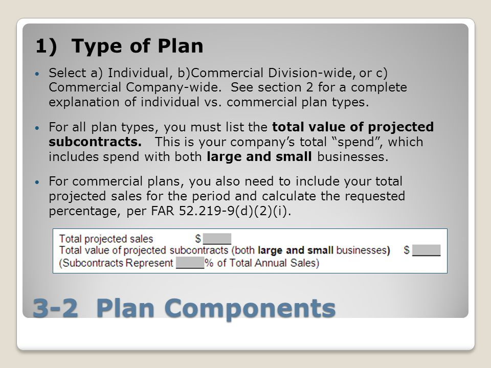3-2 Plan Components 1) Type of Plan Select a) Individual, b)Commercial Division-wide, or c) Commercial Company-wide.