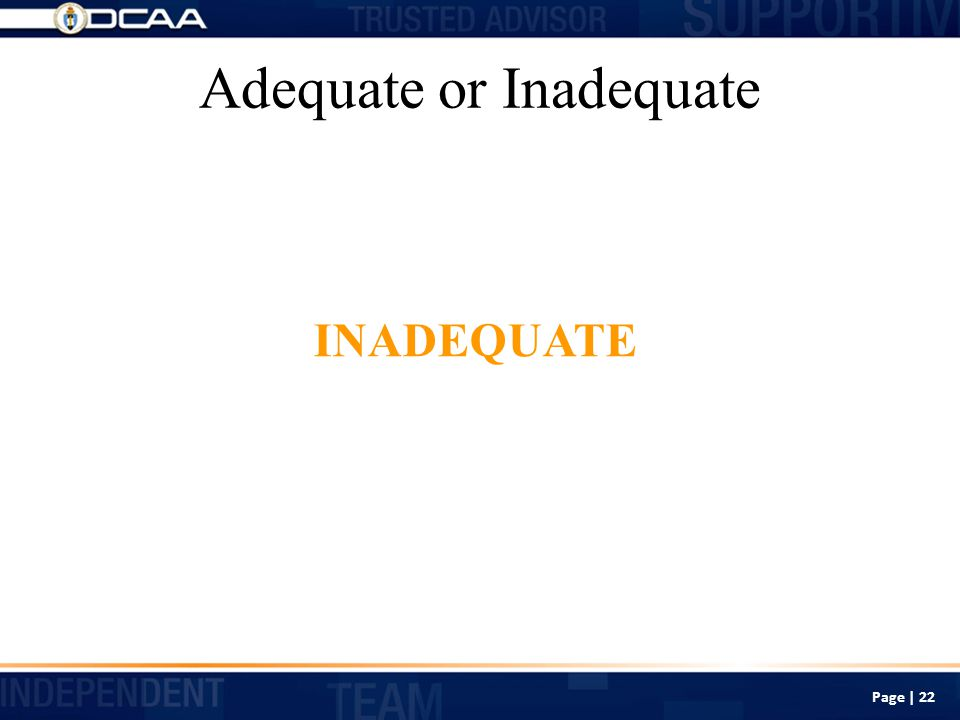 Adequate or Inadequate INADEQUATE Page | 22