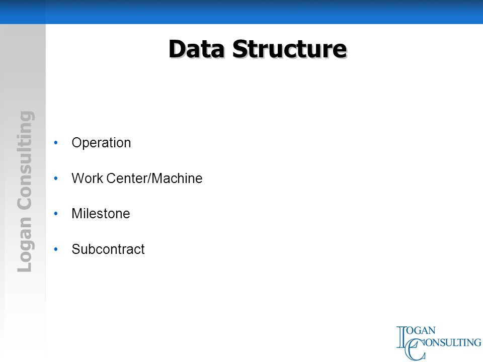 Logan Consulting Data Structure Operation Work Center/Machine Milestone Subcontract