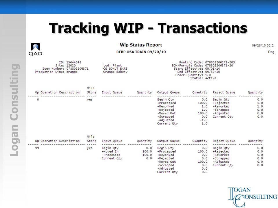 Logan Consulting Tracking WIP - Transactions Backflush