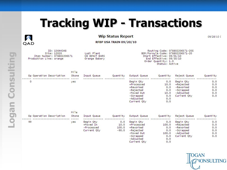 Logan Consulting Tracking WIP - Transactions