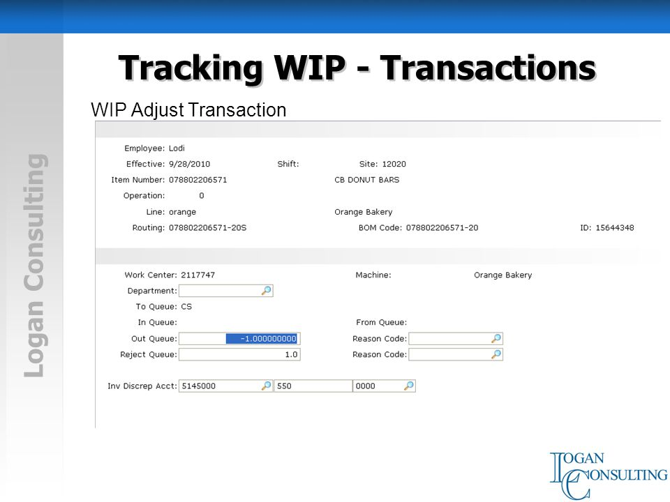 Logan Consulting Tracking WIP - Transactions WIP Adjust Transaction