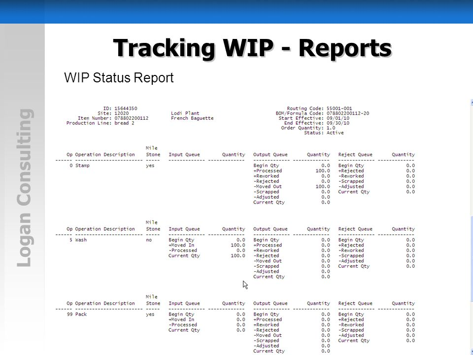 Logan Consulting Tracking WIP - Reports WIP Status Report