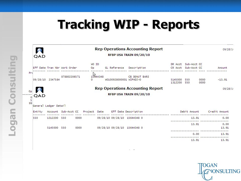 Logan Consulting Tracking WIP - Reports