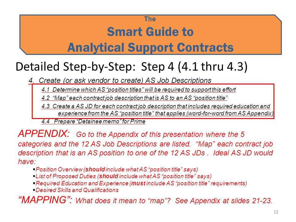 The Smart Guide to Analytical Support Contracts Detailed Step-by-Step: Step 4 (4.1 thru 4.3) 4.