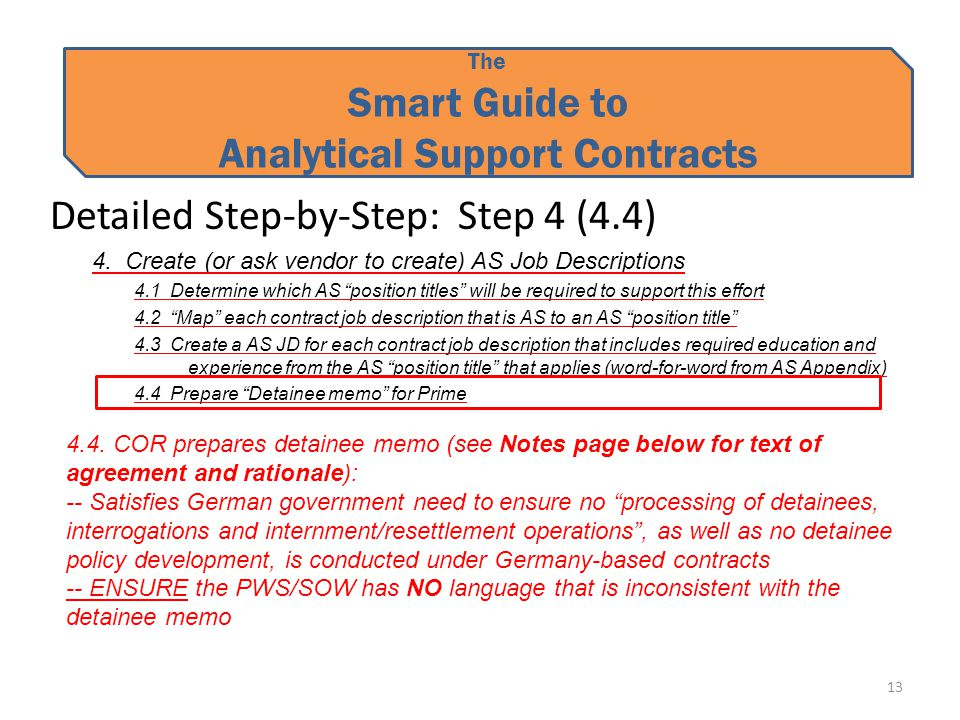 The Smart Guide to Analytical Support Contracts Detailed Step-by-Step: Step 4 (4.4) 4.