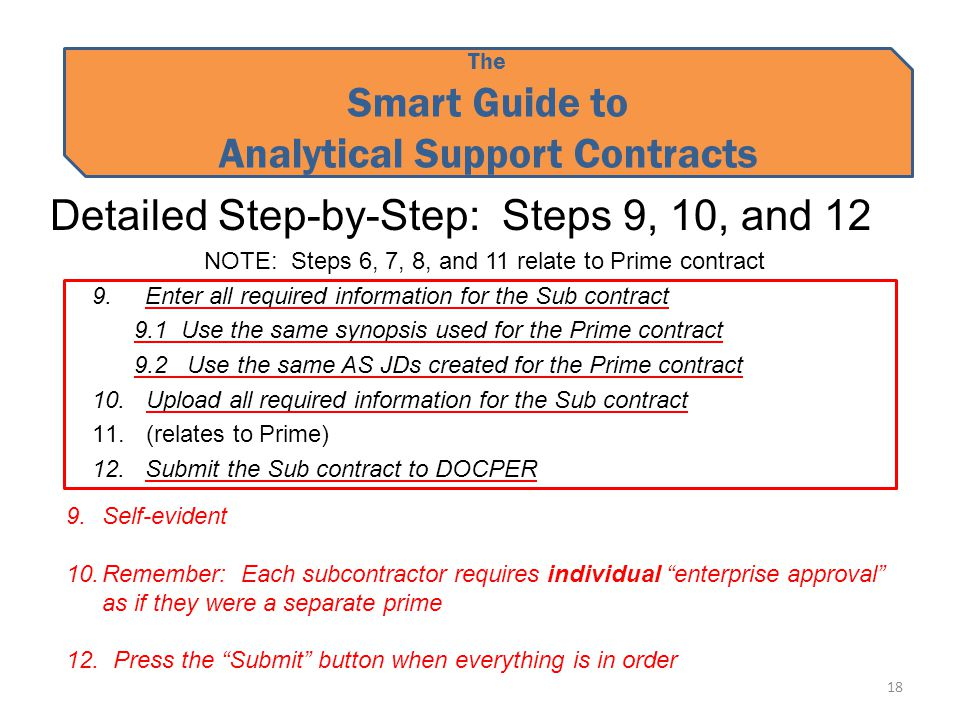 The Smart Guide to Analytical Support Contracts Detailed Step-by-Step: Steps 9, 10, and 12 NOTE: Steps 6, 7, 8, and 11 relate to Prime contract 9.