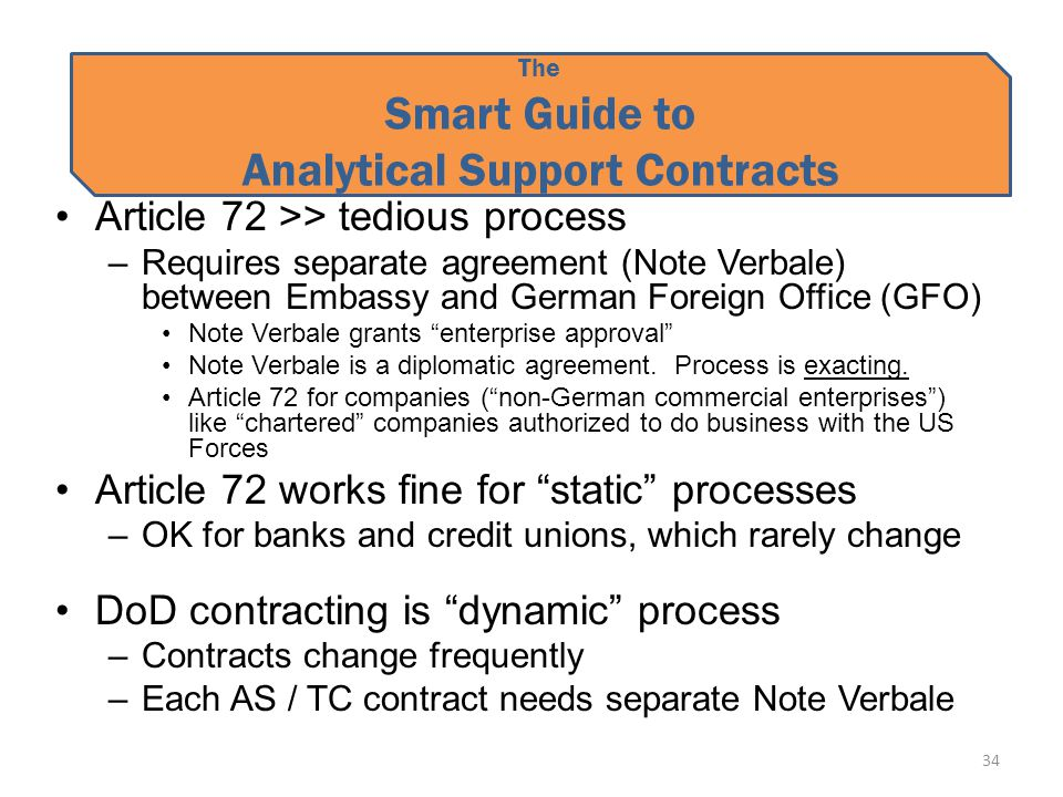 The Smart Guide to Analytical Support Contracts Article 72 >> tedious process –Requires separate agreement (Note Verbale) between Embassy and German Foreign Office (GFO) Note Verbale grants enterprise approval Note Verbale is a diplomatic agreement.
