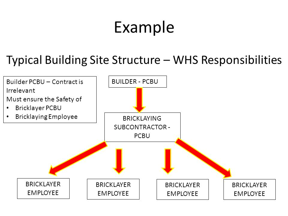 Example Typical Building Site Structure – WHS Responsibilities BUILDER - PCBU BRICKLAYING SUBCONTRACTOR - PCBU BRICKLAYER EMPLOYEE BRICKLAYER EMPLOYEE BRICKLAYER EMPLOYEE BRICKLAYER EMPLOYEE Builder PCBU – Contract is Irrelevant Must ensure the Safety of Bricklayer PCBU Bricklaying Employee
