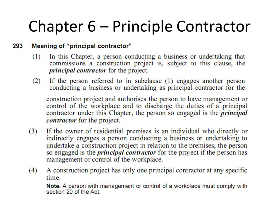 Chapter 6 – Principle Contractor