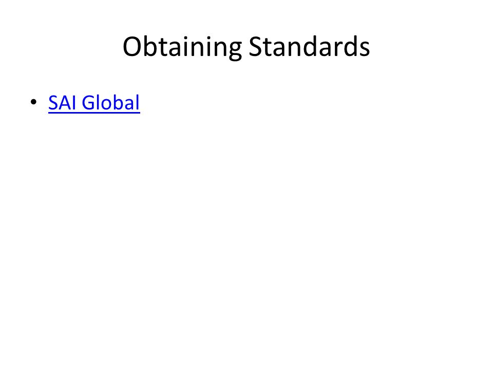 Obtaining Standards SAI Global