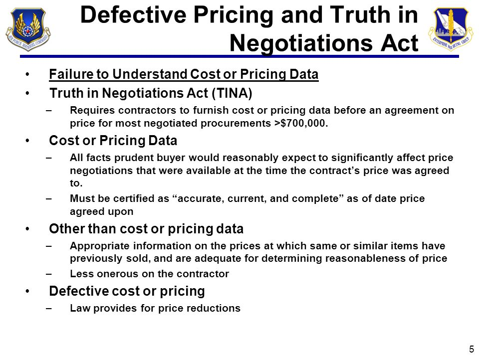 Subcontract Management Failure to Flow Down FAR Clauses to Subcontractors Lessons Learned –Pricing Arrangements –Prompt Payment –Notice of Withholding –Retainage –Manage your subcontractor/suppliers – gov't would prefer not too Failure to Include a Disputes Clause in the Subcontract –Recommend that prime include specifically tailored dispute clause in subcontract, including a statement that the subcontractor must continue performance as directed by the prime contractor during the pendency of the dispute.