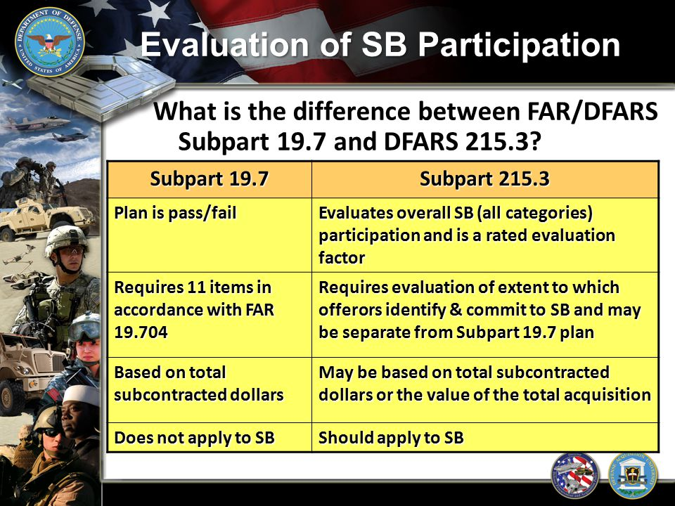 Evaluation of SB Participation What is the difference between FAR/DFARS Subpart 19.7 and DFARS 215.3? Subpart 19.7 Subpart 215.3 Plan is pass/fail Eva