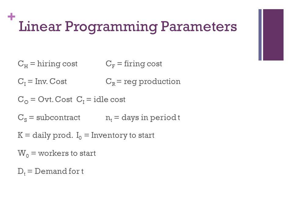 + Linear Programming Parameters C H = hiring costC F = firing cost C I = Inv. CostC R = reg production C O = Ovt. CostC I = idle cost C S = subcontrac