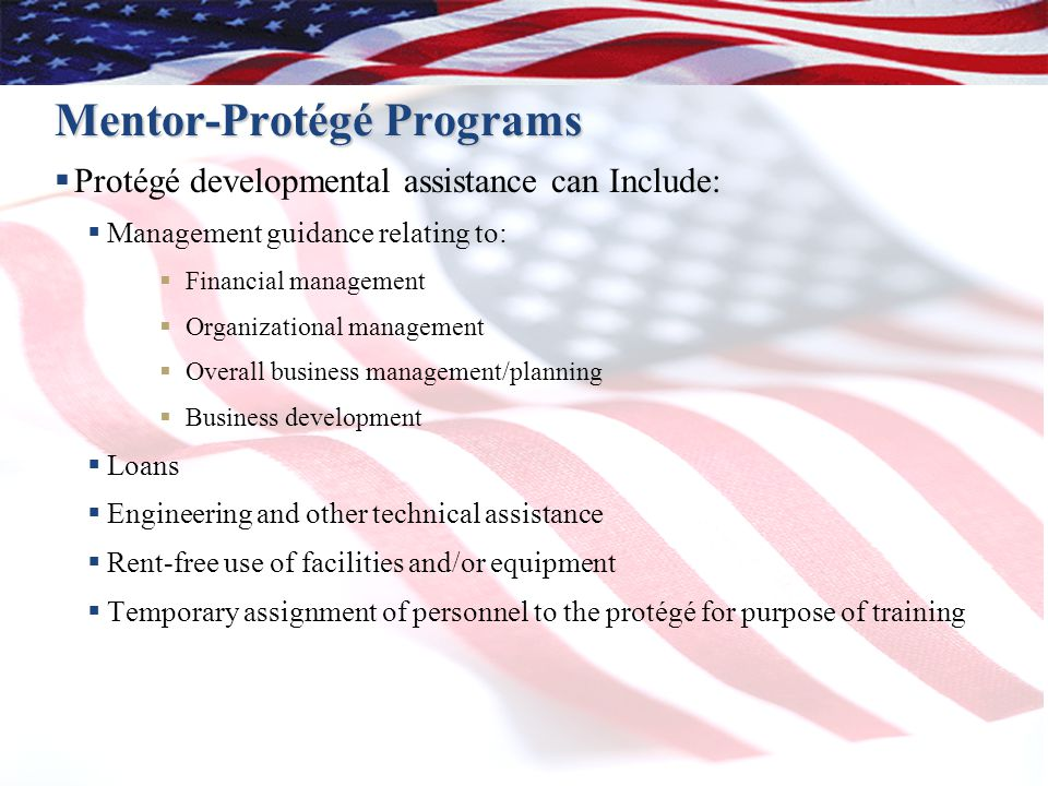 Mentor-Protégé Programs  Protégé developmental assistance can Include:  Management guidance relating to:  Financial management  Organizational management  Overall business management/planning  Business development  Loans  Engineering and other technical assistance  Rent-free use of facilities and/or equipment  Temporary assignment of personnel to the protégé for purpose of training