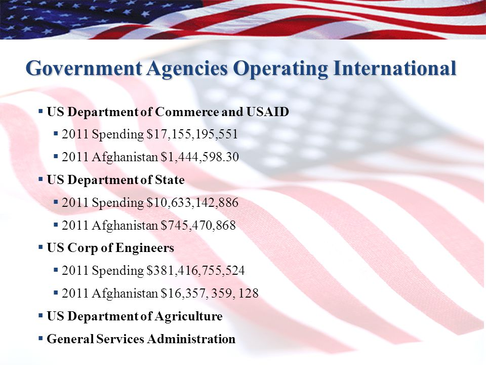 19 Government Agencies Operating International  US Department of Commerce and USAID  2011 Spending $17,155,195,551  2011 Afghanistan $1,444,598.30  US Department of State  2011 Spending $10,633,142,886  2011 Afghanistan $745,470,868  US Corp of Engineers  2011 Spending $381,416,755,524  2011 Afghanistan $16,357, 359, 128  US Department of Agriculture  General Services Administration