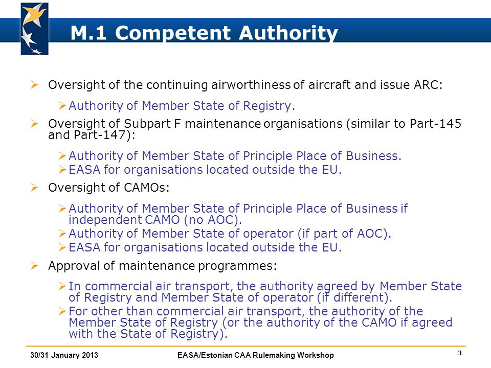 3 30/31 January 2013EASA/Estonian CAA Rulemaking Workshop M.1 Competent Authority  Oversight of the continuing airworthiness of aircraft and issue AR