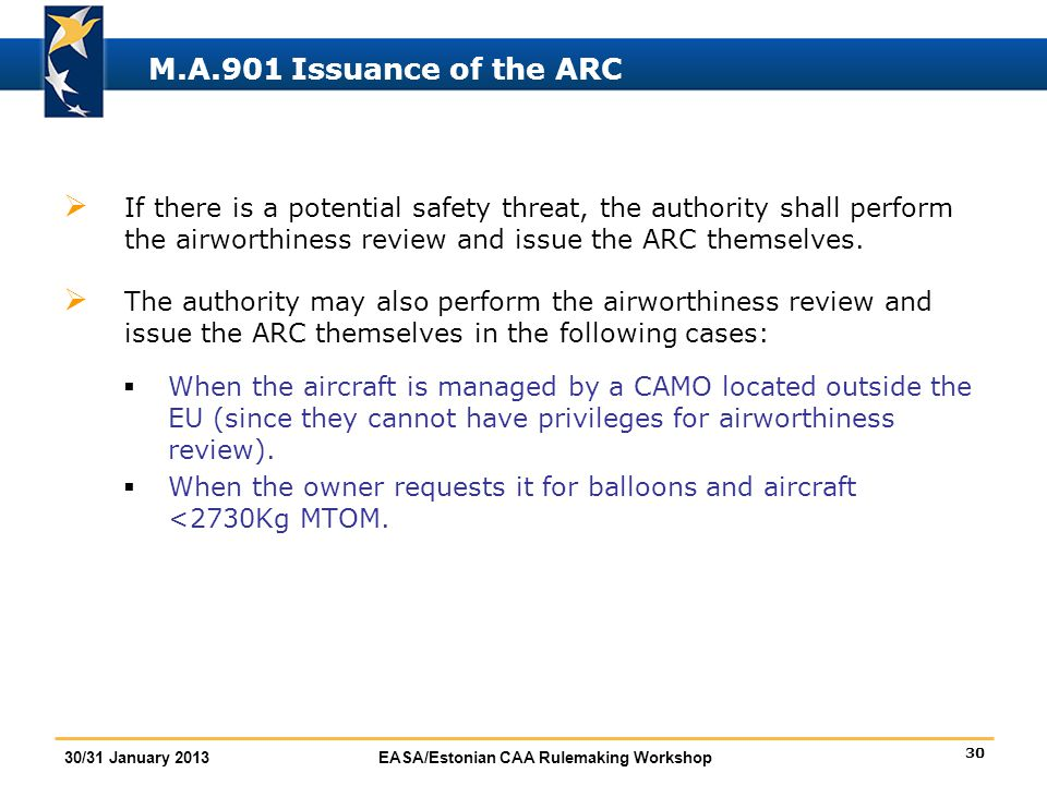 30 30/31 January 2013EASA/Estonian CAA Rulemaking Workshop M.A.901 Issuance of the ARC  If there is a potential safety threat, the authority shall pe
