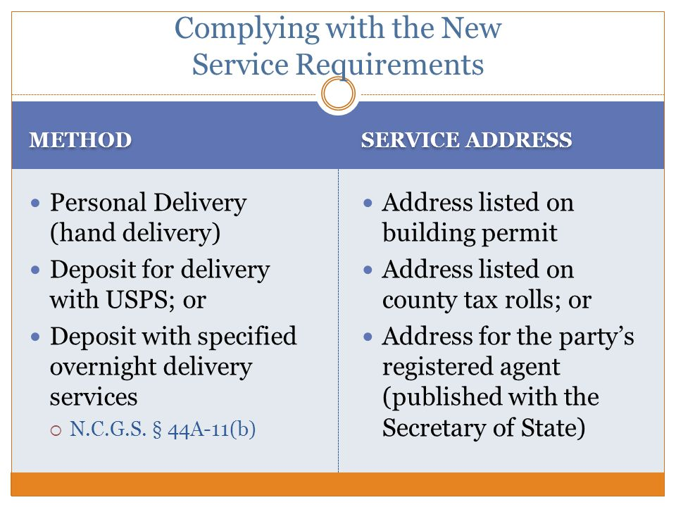METHOD SERVICE ADDRESS Personal Delivery (hand delivery) Deposit for delivery with USPS; or Deposit with specified overnight delivery services  N.C.G.S.