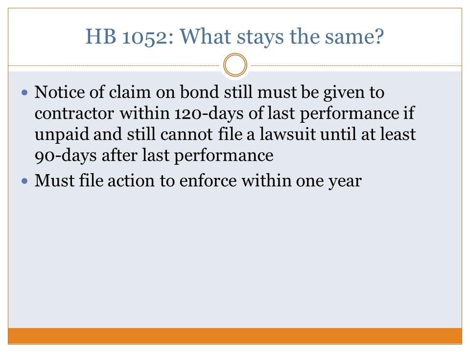 HB 1052: What stays the same.