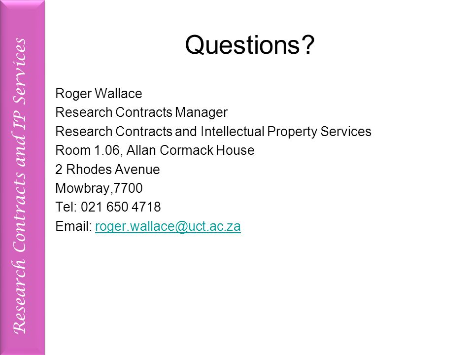 Research Contracts and IP Services Questions.
