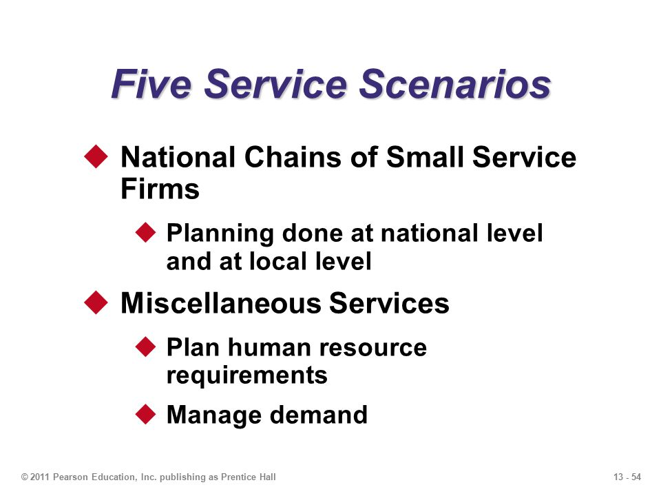 13 - 54© 2011 Pearson Education, Inc. publishing as Prentice Hall Five Service Scenarios  National Chains of Small Service Firms  Planning done at n