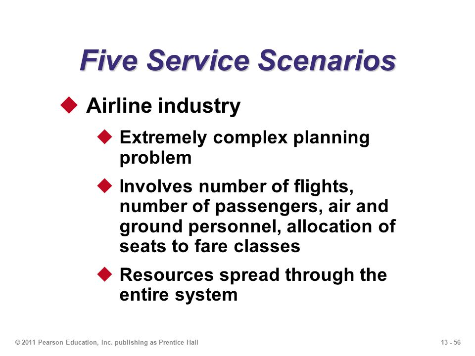 13 - 56© 2011 Pearson Education, Inc. publishing as Prentice Hall Five Service Scenarios  Airline industry  Extremely complex planning problem  Inv