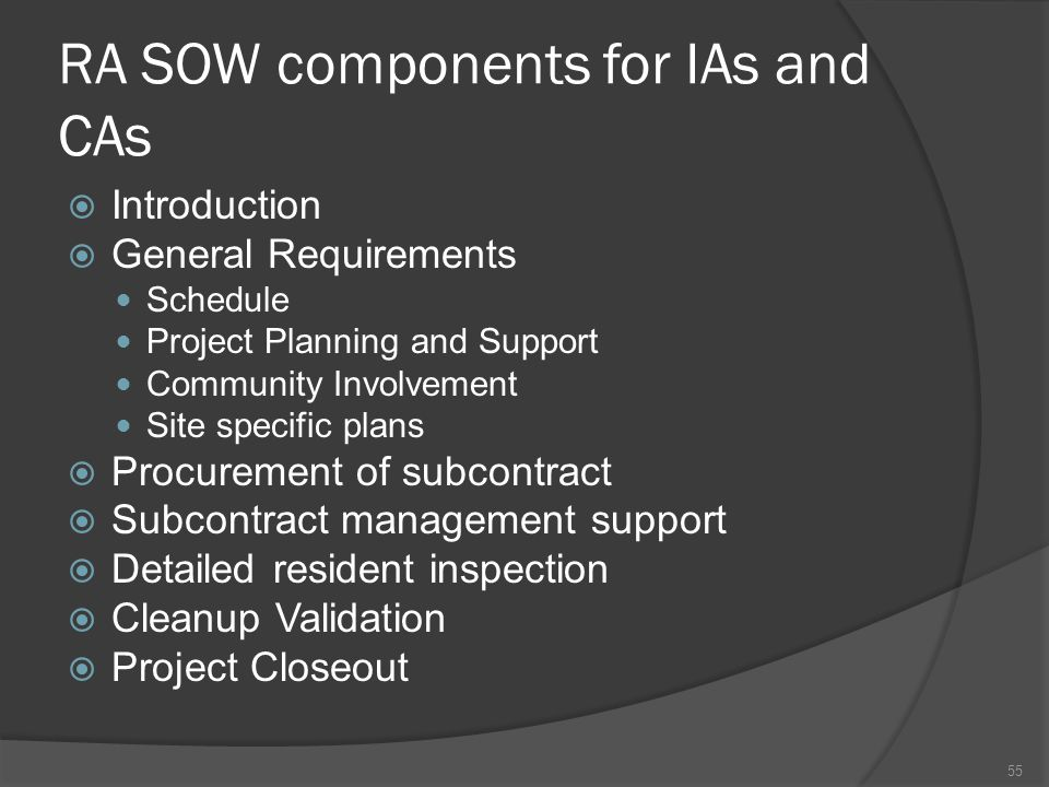 RA SOW components for IAs and CAs  Introduction  General Requirements Schedule Project Planning and Support Community Involvement Site specific plan