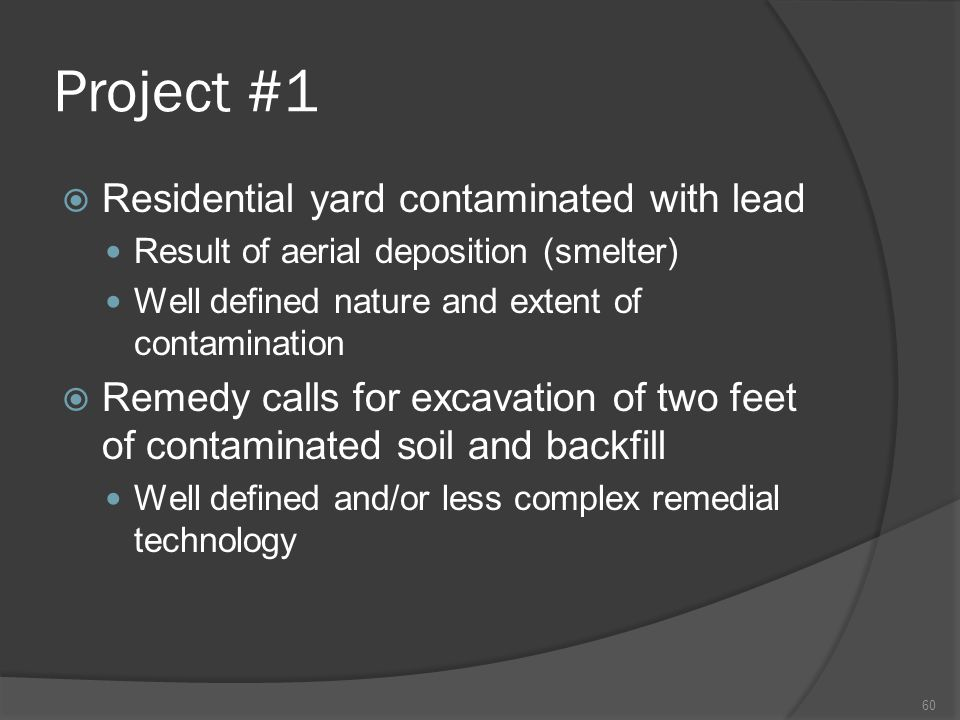 Project #1  Residential yard contaminated with lead Result of aerial deposition (smelter) Well defined nature and extent of contamination  Remedy ca