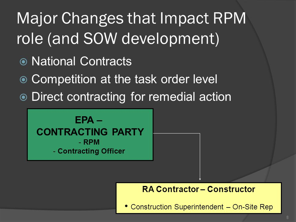 Major Changes that Impact RPM role (and SOW development)  National Contracts  Competition at the task order level  Direct contracting for remedial