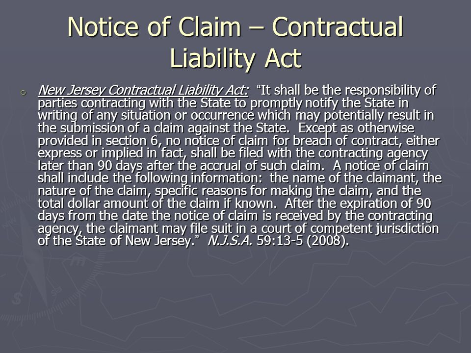 Statutes of Limitation - Contracts ► Against contractors and design professionals – 10 years from the issuance of a certificate of occupancy.
