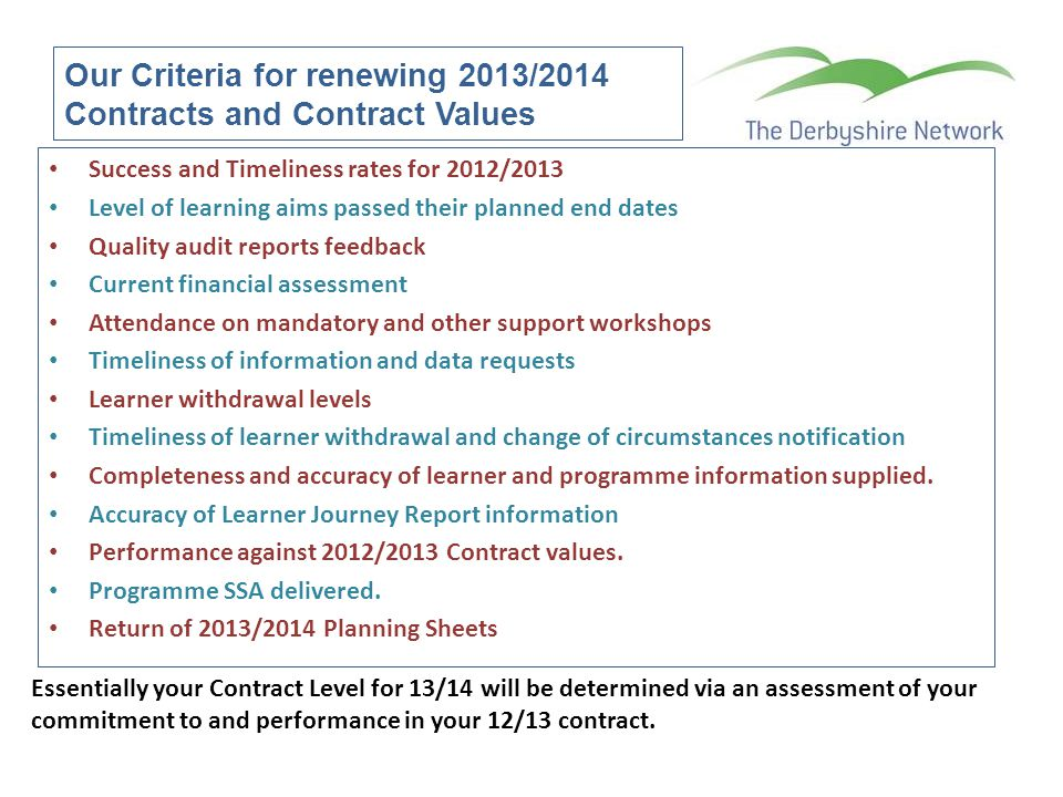 Our Criteria for renewing 2013/2014 Contracts and Contract Values Success and Timeliness rates for 2012/2013 Level of learning aims passed their plann