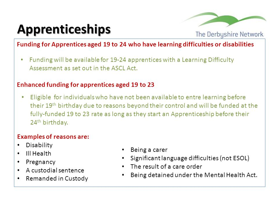 Funding for Apprentices aged 19 to 24 who have learning difficulties or disabilities Enhanced funding for apprentices aged 19 to 23 Apprenticeships Fu