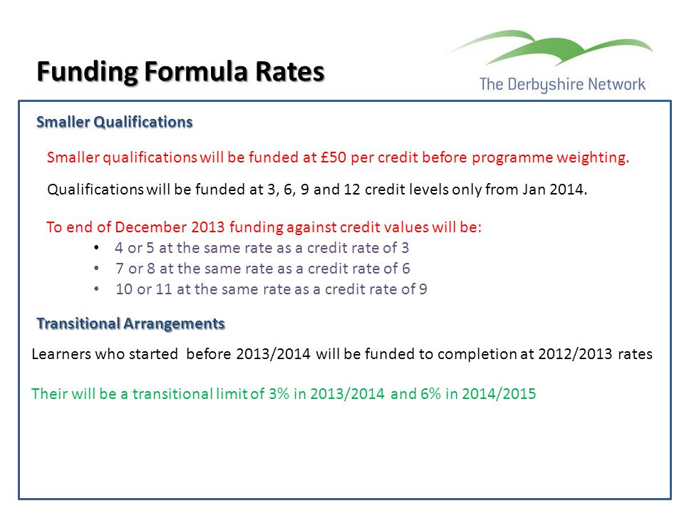 Funding Formula Rates Smaller Qualifications Smaller qualifications will be funded at £50 per credit before programme weighting. Qualifications will b