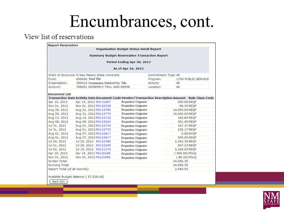 Encumbrances, cont. View list of reservations